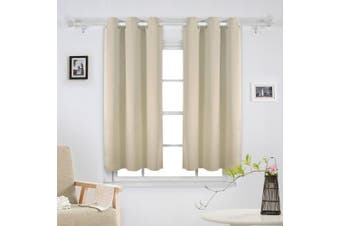 (110cm  x 140cm , Beige) - Deconovo Thermal Insulated Blacktout Curtains Rod Pocket for Living Room Glass Door 110cm x 140cm Beige Set of 2
