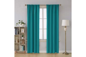 (110cm  x 210cm , Turquoise) - Deconovo Room Darkening Blackout Curtains Rod Pocket Thermal Insulated Window Trearment for Nursery Room 42W x 84L Inch Turquoise 2 Panels