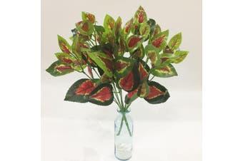 (Red Heart Leaves) - Artificial Plants Artfen 2pcs Artificial Shrubs Leaves Faux Shrubs Simulation Greenery Bushes Artificial Flower Indoor Outside Home Garden Office Verandah Wedding Decor 38cm
