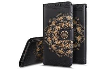 "(Black) - iPhone 6 Case,iPhone 6S Wallet Case,PHEZEN Embossed Mandala Florals PU Leather 2 in 1 Magnetic Detachable Wallet Flip Case Cover Slim Back Cover Card Holder Wrist Strap for iPhone 6/6S 4.7"", Black"