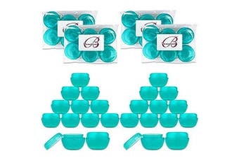 (24 Pieces, Teal) - Beauticom 10G/10ML Frosted Container Jars with Inner Liner for Scrubs, Oils, Salves, Creams, Lotions, Makeup Cosmetics, Nail Accessories, Beauty Aids - BPA Free (24 Pieces, Teal)