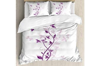 (King, Multi 1) - Purple Duvet Cover Set by Ambesonne, Violet Tree Swirling Persian Lilac Blooms with Butterfly Ornamental Plant Graphic, 3 Piece Bedding Set with Pillow Shams, King Size, Purple White