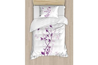 (TWIN / TWIN XL, Multi 1) - Purple Duvet Cover Set by Ambesonne, Violet Tree Swirling Persian Lilac Blooms with Butterfly Ornamental Plant Graphic, 2 Piece Bedding Set with Pillow Sham, Twin / Twin XL, Purple White