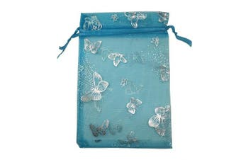 (Turquoise With Silver Butterfly) - YIJUE 100pcs 10cm x 15cm Drawstrings Organza Gift Candy Bags Wedding Favours Bags (Turquoise With Silver Butterfly)
