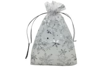 (Snowflake) - YIJUE 100pcs 13cm x 18cm Drawstrings Organza Gift Candy Bags Wedding Favours Bags (Snowflake)