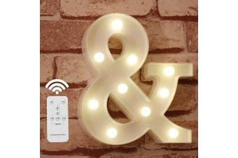 (&) - Letter Lights Alphabet Light Up Sign for Wedding Home Party Bar Decoration - &