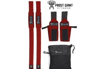 (Red) - Frost Giant Fitness: Wrist Wraps Set w/Carry Bag   Heavy Duty Hand and Wrist Support (Weightlifting, Crossfit, Powerlifting, Bodybuilding, Weight Training, Workout),