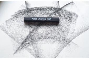 (6pcs) - 6pcs Compressed Charcoal Sticks for Drawing, Shading, 2 Soft 2 Medium 2 Hard, Drawing Class Essential Tools Kit
