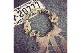 Bridal Flower Garland Artfen Headband Flower Crown Hair Wreath Halo With Adjustable Ribbon For Wedding Festivals Red Bean Paste