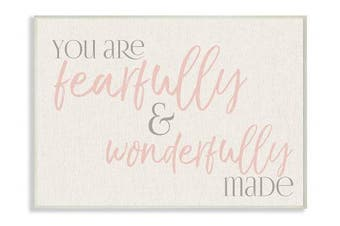 (wood, 10x15) - The Stupell Home Décor Collection Fearfully Wonderfully Made Pink Typography Wall Plaque Art