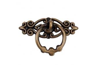 ULTNICE 10pcs Vintage Pull Handle Knobs For Kitchen Cabinet Cupboard Dresser Door With Drawer Ring (Antique Brass)