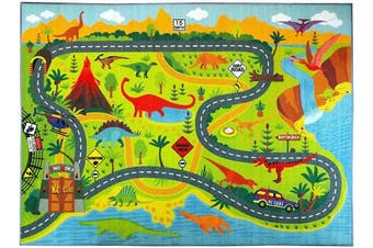 (0.9m x 1.2m) - KC CUBS Playtime Collection Dinosaur Dino Safari Road Map Educational Learning & Game Area Rug Carpet for Kids and Children Bedrooms and Playroom (0.9m x 1.2m)
