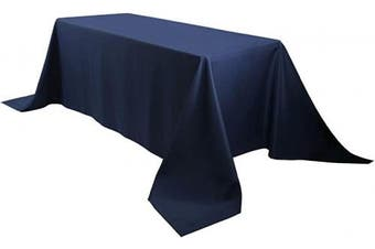 (230cm  x 340cm , Navy Blue) - E-TEX Oblong Tablecloth - 230cm x 340cm Rectangle Table Cloth for 1.8m Rectangular Table in Washable Polyester , Navy Blue