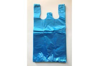 (500) - RG Large Plastic Grocery T-shirts Carry-out Bag Blue Unprinted 12 X 6 X 21 (500)