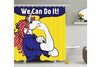 (180cm  W By 210cm  L, Multi 38) - Unicorn Shower Curtain Set by Ambesonne, Feminist Unicorn with Famous Gesture on Polka Dots Setting Strength Humour Image, Fabric Bathroom Decor with Hooks, 210cm Extra Long, Multi