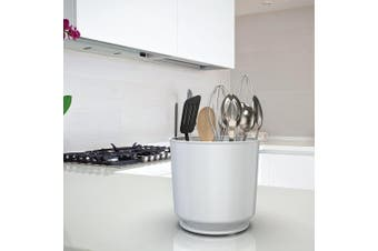 (White) - Extra Large and Sturdy Rotating Utensil Holder with No-Tip Weighted Base, Removable Divider, And Gripped Insert | Rust Proof and Dishwasher Safe by Cooler Kitchen