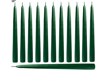 (Green) - Green Taper Candles 25cm Tall - Elegant - Premium Quality - Dripless Smokeless - Hand-Dipped - Set of 12 - for Holiday Decoration, Wedding, Dinner, Ceremony, Table Candles, Birthday Made in US