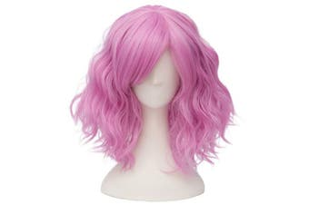 (Pinkish Purple) - Alacos Fashion 35cm Short Curly Bob Anime Cosplay Wig Daily Party Christmas Halloween Synthetic Heat Resistant Wig for Women +Free Wig Cap (Pinkish Purple)