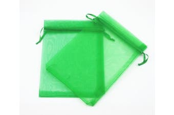 (100 Pieces, Green) - AEAOA 10cm x 15cm Organza Bags Drawstring Wedding Favour Bags Organza Gift Pouches Bags for Wedding Jewellery Party (100 Pieces, Green)