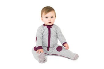 (Heather Gray/Mauve, 12-18 Months) - baby deedee Sleepsie Cotton Quilted Footie Pyjama, Heather Grey/Mauve, 12-18 months