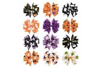 Coobbar 12pcs 7.6cm Halloween's Day Bow Knot Hair Pins Handmade Hair Accessories