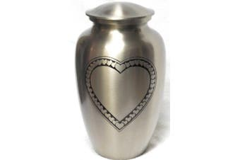 (Silver) - Cremation Urn - Large Heart Funeral Urn for Human Ashes - Burial urn with Detailed Engraving - 100% Brass (Silver)