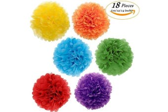 Paper Pom Poms Colour Tissue Flowers Birthday Celebration Wedding Party Outdoor Decoration,18 pcs of 10 12 36cm