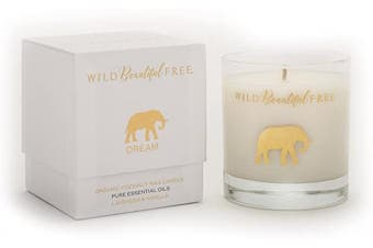 (Dream) - Wild Beautiful Free Lavender and Vanilla Organic Aromatherapy Candle with Pure Essential Oils for Stress Relief and Sleep - Dream Elephant Luxury Candle