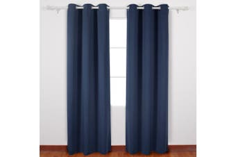 (110cm  x 240cm , Navy Blue) - Deconovo Navy Blue Blackout Curtains Grommet Curtains with Silver Coating for Kids Bedroom 110cm By 240cm Navy Blue 2 Panels