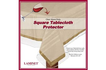 (140cm  Square, Clear) - LAMINET Heavy-Duty Deluxe Crystal Clear Vinyl Tablecloth Protector 140cm Square