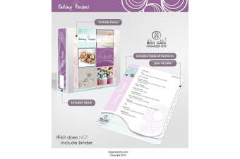 Baker's Recipe Organiser Kit: LONG Index Tabs for Three-ring Binder with Cover