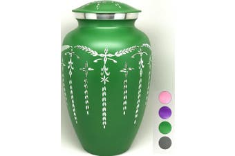 (Green) - Cremation Urn - Colourful Funeral Urn in Four Options: Pink, Green, Purple or Grey - Large Burial Urn for Human Ashes Adult Size - Aluminium (Green)