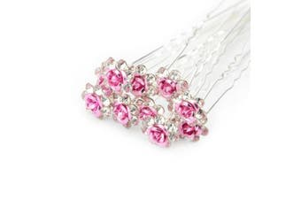 (Light Pink) - Bluelans® 10x Rose Flower Rhinestone Hair Pins Party Prom Wedding Bridal Bridesmaid Clips (Light Pink)