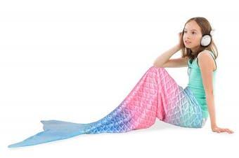 (Rainbow Ombre) - Catalonia Mermaid Tail Plush Flannel Blanket for Teen Child Kids, Soft Warm Fuzzy Micro Fleece All Seasons Sleeping Blanket Classic Scale Pattern 150cm x 48cm Rainbow Ombre