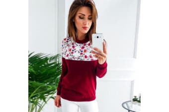 (Medium, Red) - Sinwo Women Fashion Floral Long Sleeve Pullover Sweatshirt Casual Loose Blouse Tops