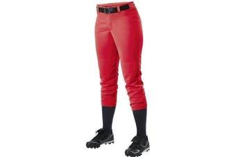 (Large, Scarlet) - Alleson Ahtletic Women's Fastpitch/Softball Belt Loop Pant