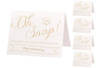 Wedding Hashtag Sign | Set of 5 Pearl White and Gold Wedding Signs | Oh Snap | 4x5 Folded Double Sided On Heavy Cardstock With Pearlescent Finish | White and Gold Wedding Decorations