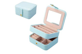 (Light Blue) - Jewellery Box, Aulola® Faux Leather Jewellery Case and Display Case 2 Layers with Mirror for Earrings Necklace Jewels Bracelets Organiser Jewellery Storage Box,Small Size