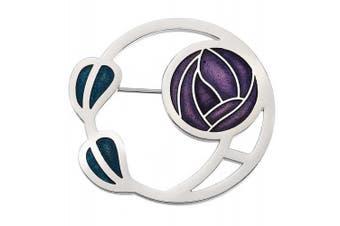 Silver Tone Purple Enamel . Style Rose Flower Brooch