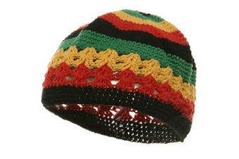 (One Size Fits Most, Multi-color) - Hand Crocheted Beanie (02)-Rasta