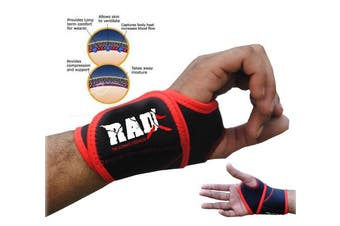 (Red) - RAD One Pair Neoprene Wrist Thumb Brace Support Gym Weightlifting Wraps Strap New