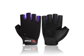 (Small, 01-Purple) - BEACE Weight Lifting Gym Gloves with Anti-Slip Leather Palm for Workout Exercise Training Fitness and Bodybuilding for Men & Women