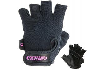 (X-Small, Black) - Contraband Pink Label 5057 Womens Basic Lifting Gloves (Pair) - Light-Medium Padded Durable Leather Palm Fingerless Classic Workout Gloves Designed & Sized for Women