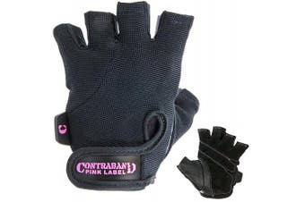 (Small, Black) - Contraband Pink Label 5057 Womens Basic Lifting Gloves (Pair) - Light-Medium Padded Durable Leather Palm Fingerless Classic Workout Gloves Designed & Sized for Women