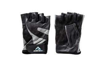 (Medium, Standard) - ACHIEVE FIT Weightlifting Gloves - Leather Palm for Fitness savvy Men & Women Firm Grip, Control & Comfort for Weight lifting, Crossfit Training, Gym Workout - Standard or With Wrist Wraps (PAIR)