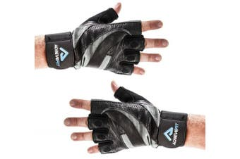 (Extra Large, With Wrist Wraps) - ACHIEVE FIT Weightlifting Gloves - Leather Palm for Fitness savvy Men & Women Firm Grip, Control & Comfort for Weight lifting, Crossfit Training, Gym Workout - Standard or With Wrist Wraps (PAIR)
