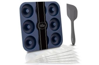 (Large) - Chefast Donut Pan Set - Combo Kit of Large Non-Stick Silicone Doughnut Pan, 5 Pastry Bags, and Spatula - Oven, Freezer, and Dishwasher-Safe Baking Mould for 9 Full-Size Donuts, Bagels and More