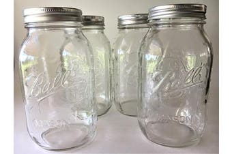 (4) - Ball Mason Jar-950ml Clear Glass Ball Collection Heritage Series-Set of 4 Jars