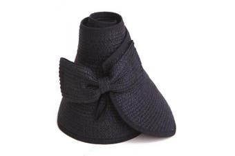 (black) - HDE Women's Packable Roll Up Wide Brim Sun Visor Crushable Straw Beach Hat Bonnet (Black)