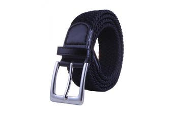 """(black, 36-39"""") - HDE Mens Elastic Braided Web Belt Woven with Leather Accents and Silver Buckle (Black, Medium)"""